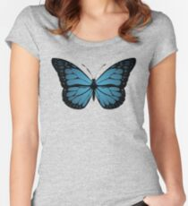 Blue Monarch Butterfly Women's Fitted Scoop T-Shirt