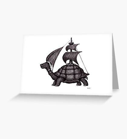 Sailing Turtle surreal black and white pen ink drawing Greeting Card