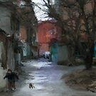 walking the dog by Nikolay Semyonov
