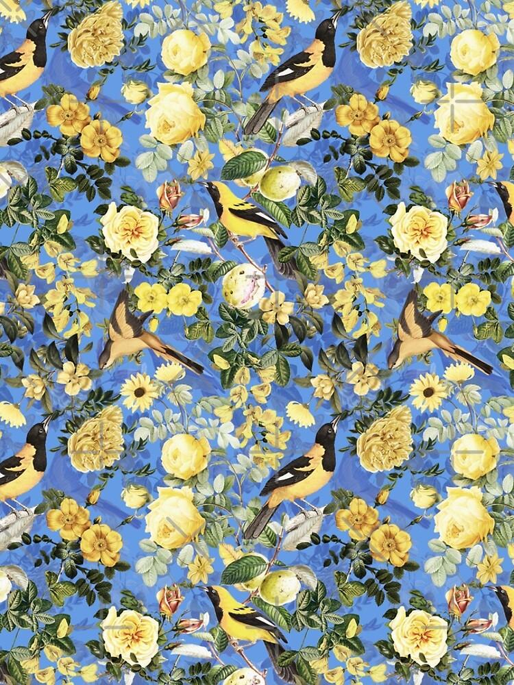 Antique Blue And Yellow Botanical Flower Rose Garden by UtArt