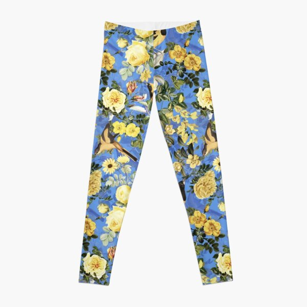 Antique Blue And Yellow Botanical Flower Rose Garden Leggings