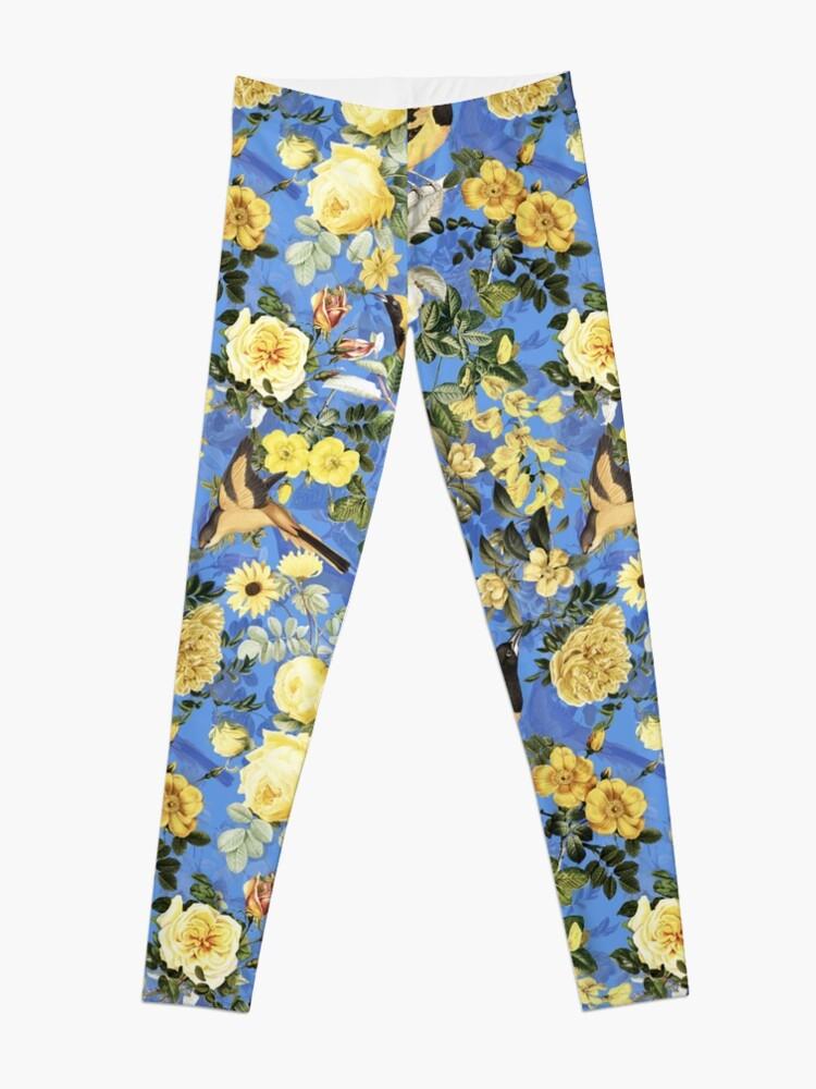 Alternate view of Antique Blue And Yellow Botanical Flower Rose Garden Leggings
