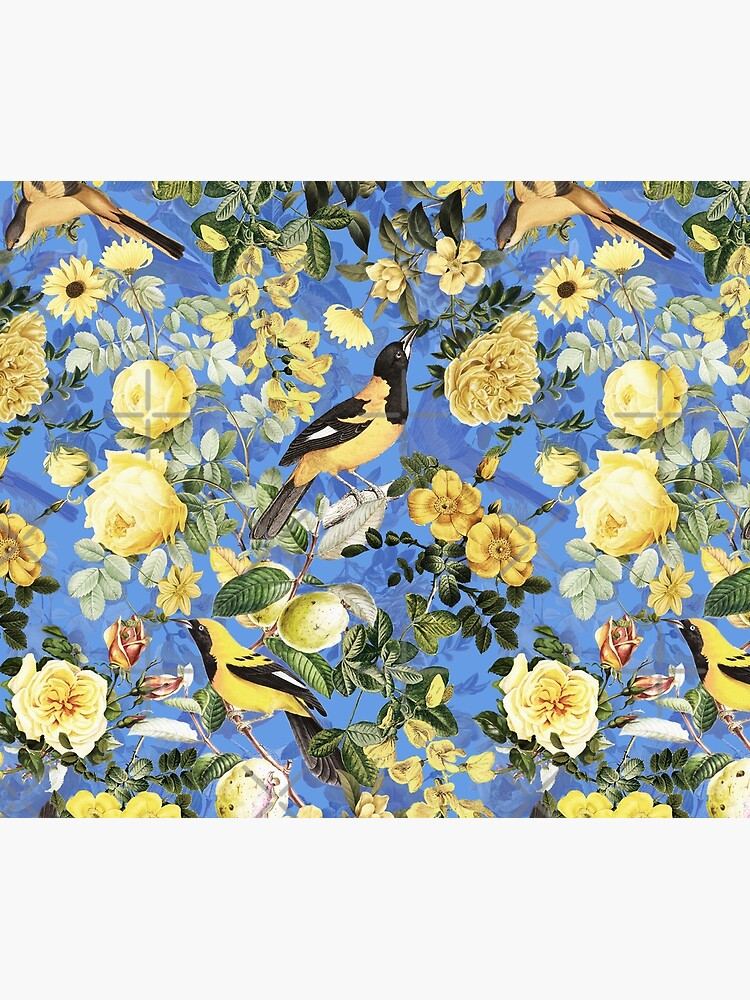 Antique Blue And Yellow Botanical Flower Rose Garden by UtArt