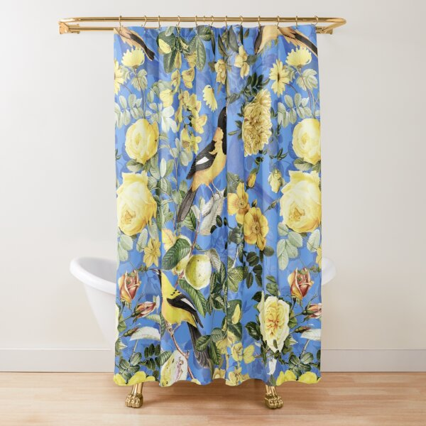 Antique Blue And Yellow Botanical Flower Rose Garden Shower Curtain