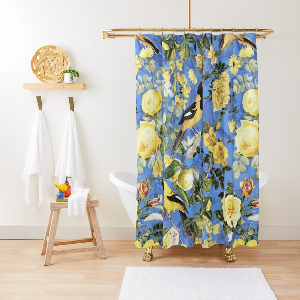 Antique Blue And Yellow Botanical Flower Rose Garden Shower Curtain