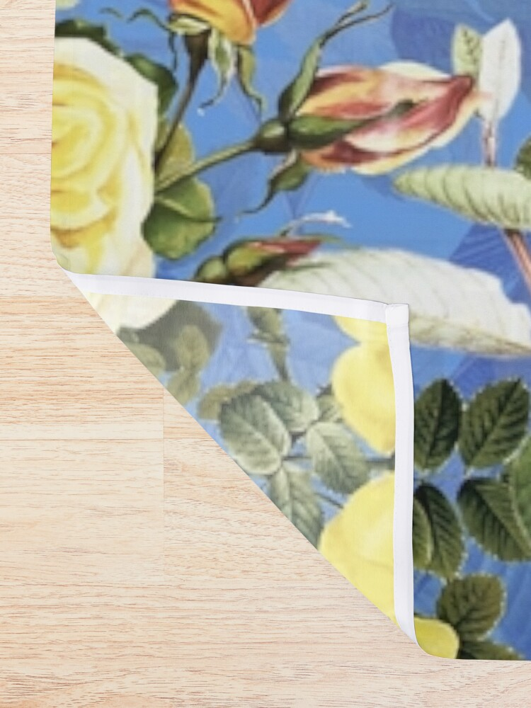 Alternate view of Antique Blue And Yellow Botanical Flower Rose Garden Shower Curtain