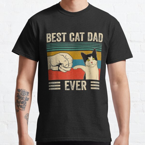 Mens Vintage Best Cat Dad Ever Bump Fit Classic T-Shirt