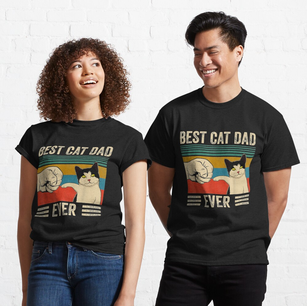 Mens Vintage Best Cat Dad Ever Bump Fit Classic T-Shirt