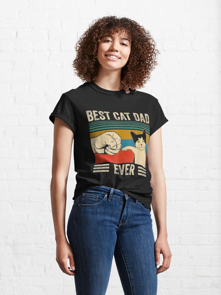 Alternate view of Mens Vintage Best Cat Dad Ever Bump Fit Classic T-Shirt