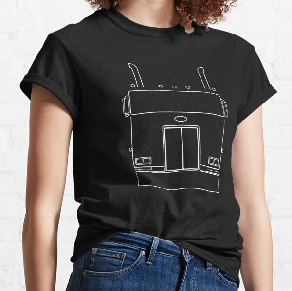 Cabover Pete classic truck outline graphic (white) Classic T-Shirt