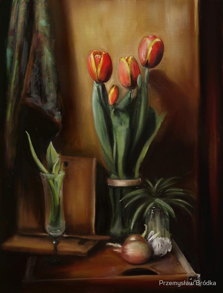 Classic Still Life with Tulips by Przemysław Bródka