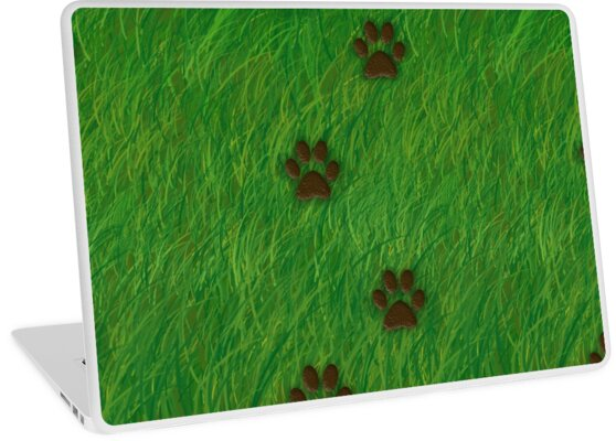 Paw prints in Grass by TinaGraphics