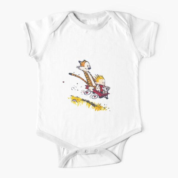 funny calvin and hobbes Short Sleeve Baby One-Piece