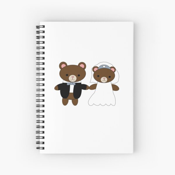 Bride and Groom Bear Cute Kawaii Couple Spiral Notebook