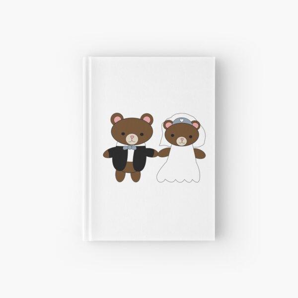 Bride and Groom Bear Cute Kawaii Couple Hardcover Journal