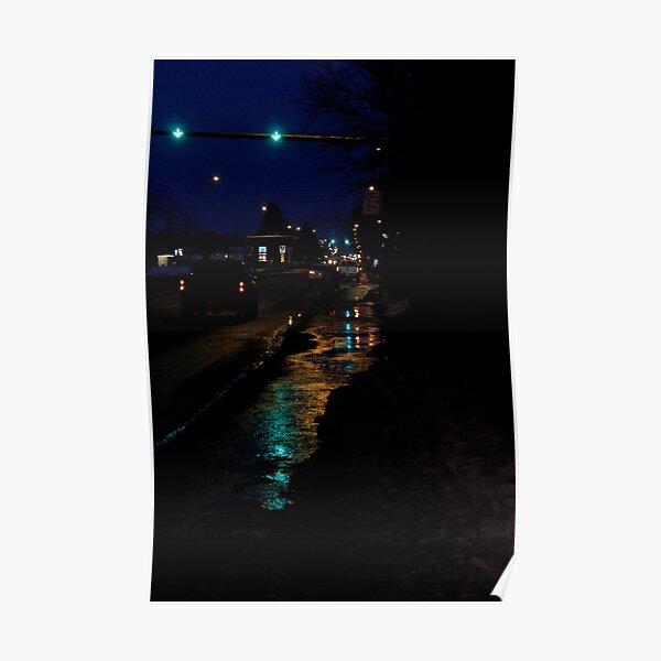 Traffic Lights at Night Poster