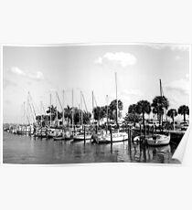Fort Pierce Marina  (Black and White) Poster