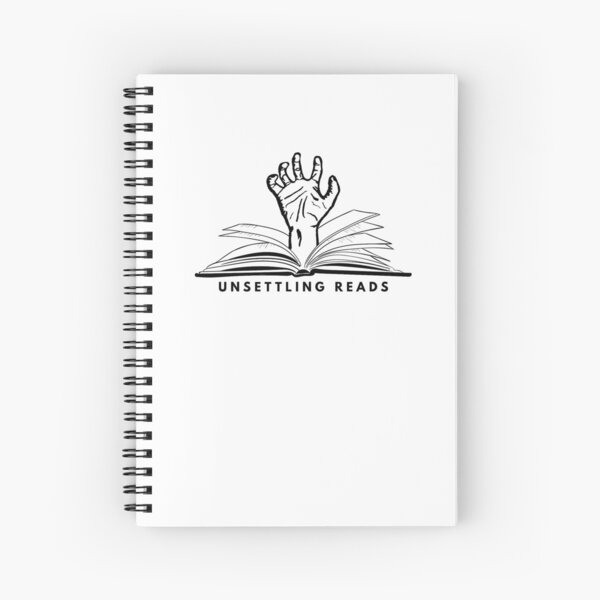 Unsettling Reads - Hand Coming out of a Book Spiral Notebook