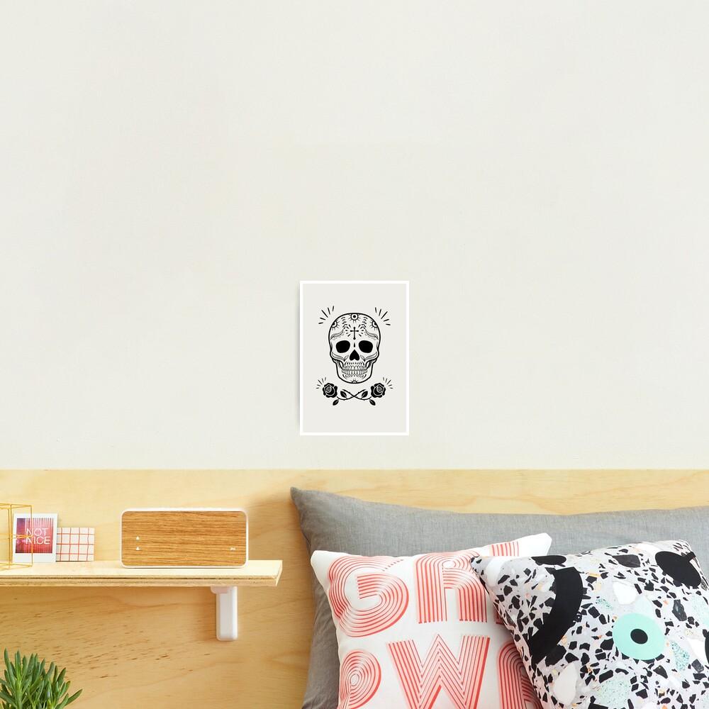 Sugar Skull With Flowers Art • White Photographic Print