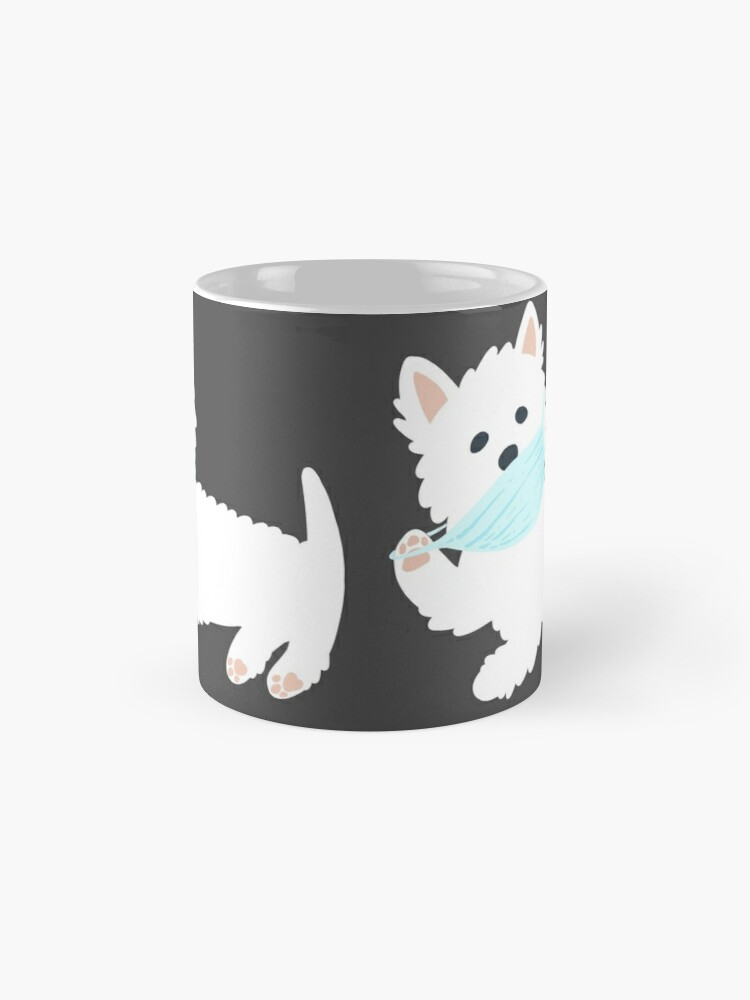 Alternate view of Self isolating Westie pup  Mug
