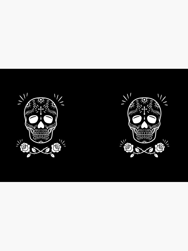 Sugar Skull With Flowers Art • Black by rike-mayer