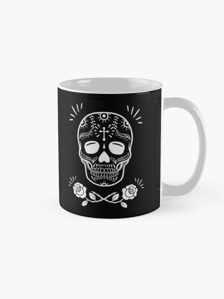 Alternate view of Sugar Skull With Flowers Art • Black Mug