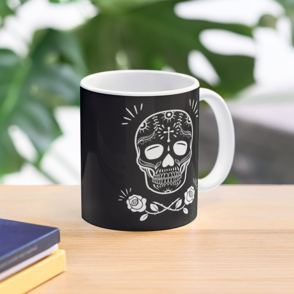 Sugar Skull With Flowers Art • Black Mug