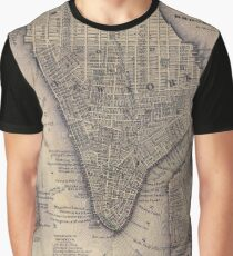 Camiseta gráfica Vintage NYC and Brooklyn Map (1847)