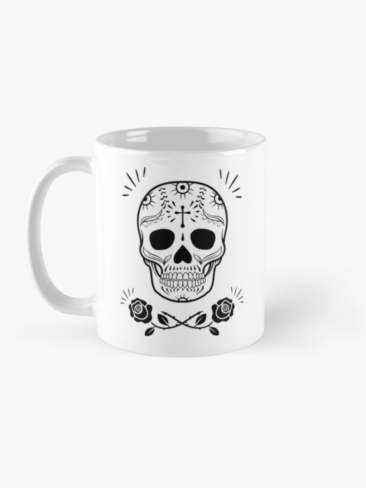 Alternate view of Sugar Skull With Flowers Art • White Mug