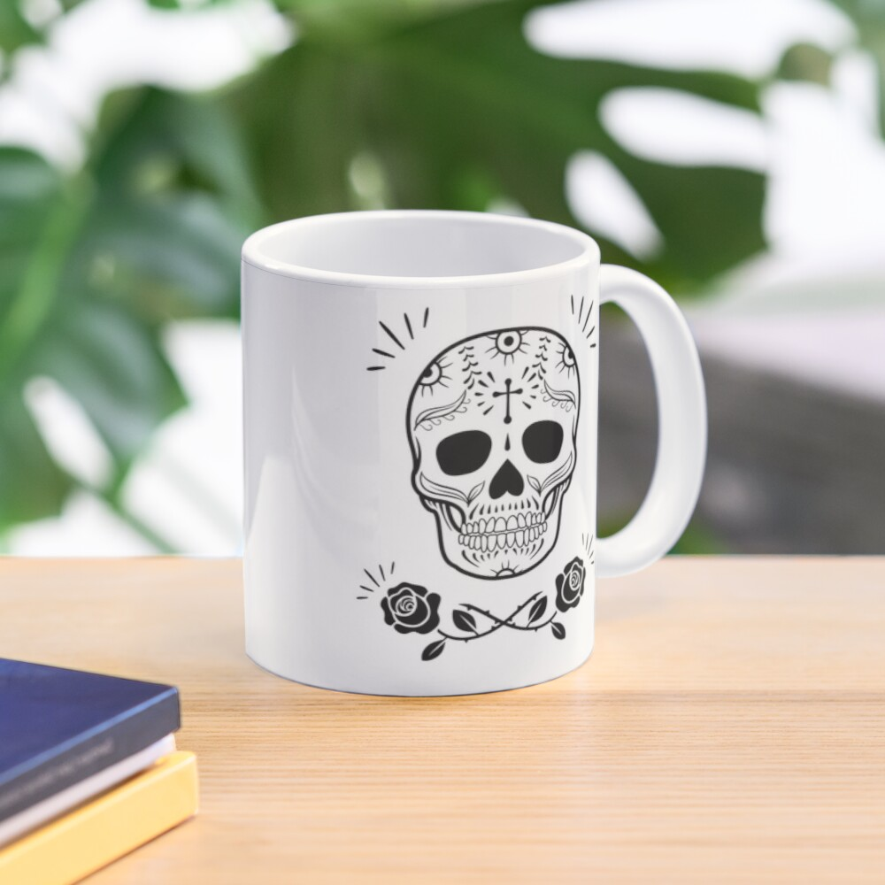Sugar Skull With Flowers Art • White Mug