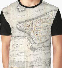 Camiseta gráfica Vintage Map of New York City (1860) 2
