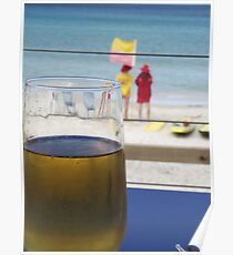 enjoyment - a cool one at the beach Poster