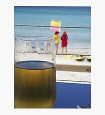 enjoyment - a cool one at the beach Photographic Print