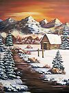 Winter Dawn in the Mountains - Acrylic by teresa731
