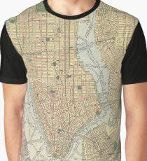 Camiseta gráfica Vintage Map of New York City (1910)