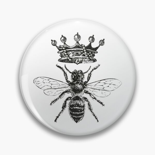 Queen Bee | Vintage Honey Bees | Black and White |  Pin
