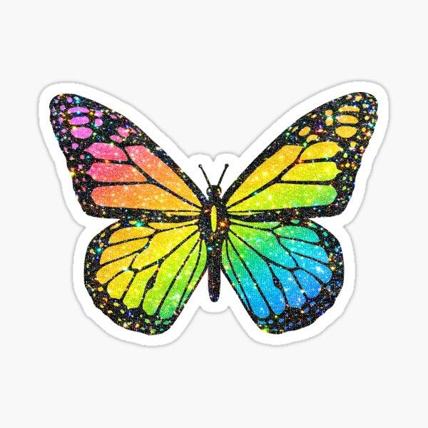glittery rainbow butterfly Sticker