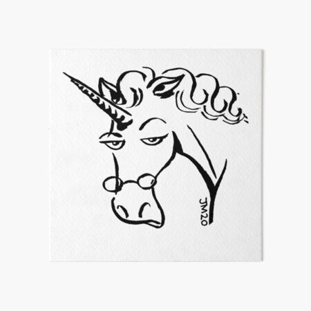 Carol the unicorn portrait Art Board Print