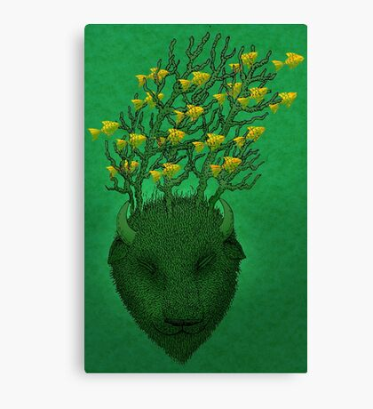 Sea Buffalo Dreaming Green Heart  Canvas Print