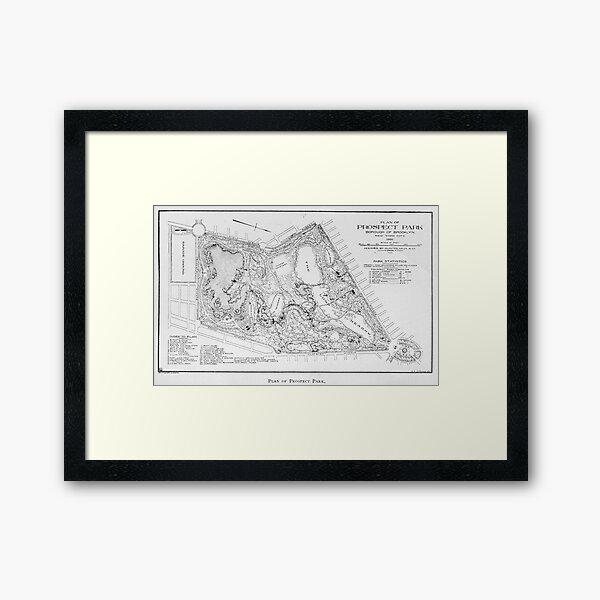Vintage Map of Prospect Park (1901) Framed Art Print