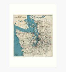 Vintage Map of The Puget Sound (1919) Art Print