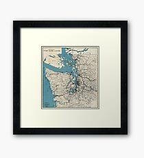 Vintage Map of The Puget Sound (1919) Framed Print
