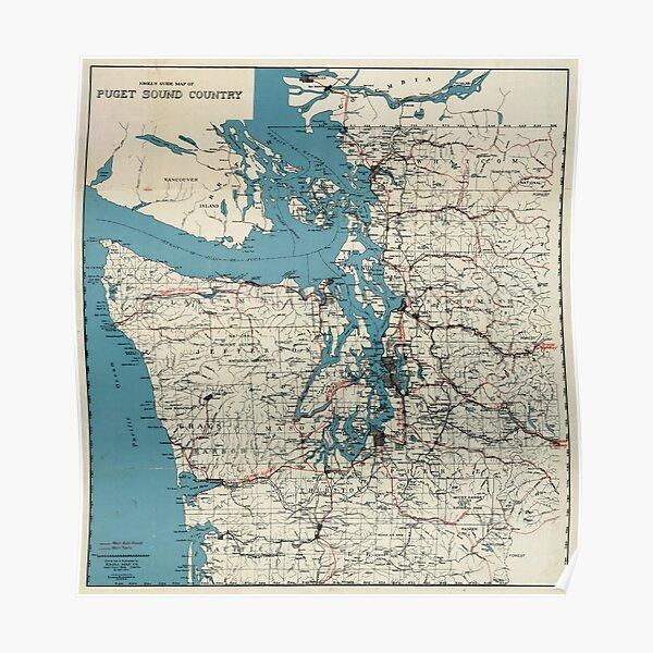 Vintage Map of The Puget Sound (1919) Poster