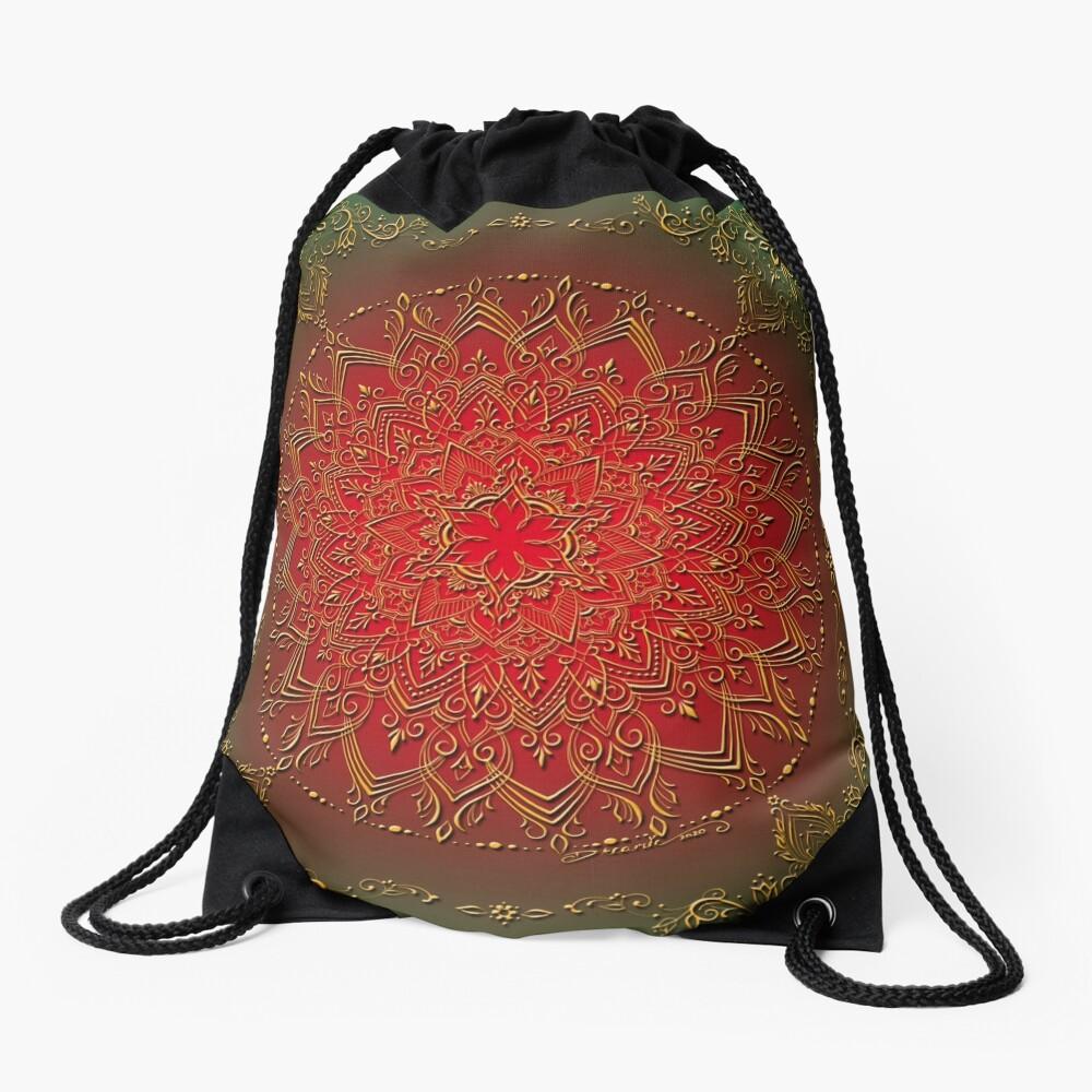Dreamie's Mandala in Reds and Greens Drawstring Bag