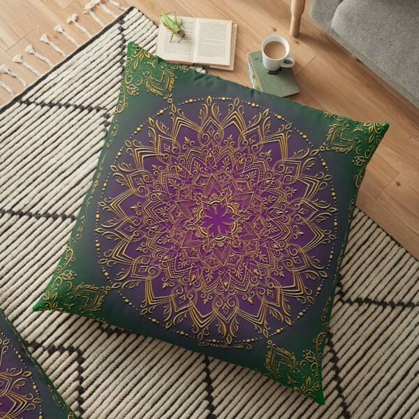 Dreamie's Mandala in Peacock Green Floor Pillow