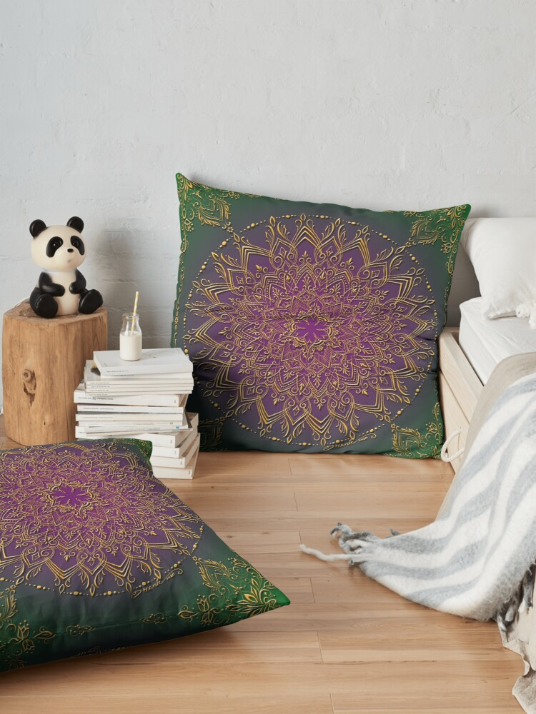 Alternate view of Dreamie's Mandala in Peacock Green Floor Pillow