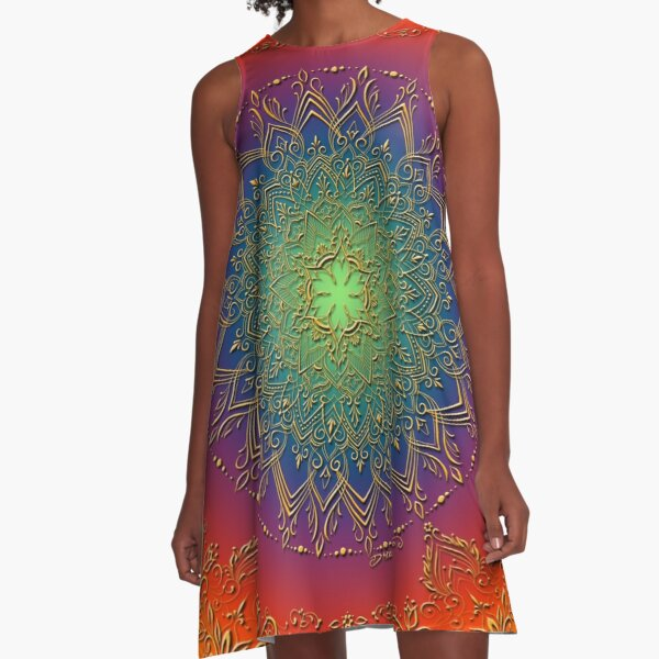Dreamie's Mandala in Psychedelic Rainbow A-Line Dress