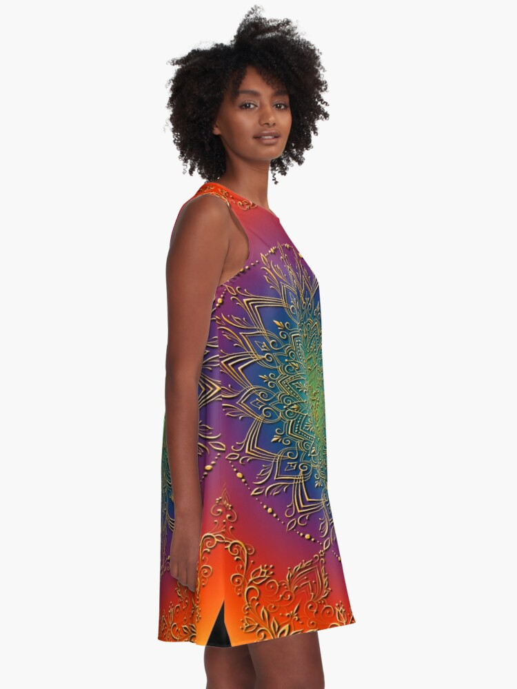 Alternate view of Dreamie's Mandala in Psychedelic Rainbow A-Line Dress