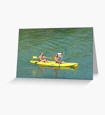 Canoeing Off Cap Ferrat Greeting Card