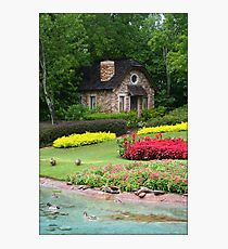 English Style Cottage With Pond In Orlando Florida Photographic Print